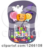 Clipart Of A Jar Of Halloween Candy Royalty Free Vector Illustration