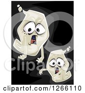 Clipart Of Halloween Ghosts On Black Royalty Free Vector Illustration