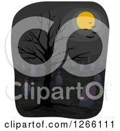 Clipart Of A Full Moon And Bats Over A Dark Cemetery With A Bare Tree Royalty Free Vector Illustration