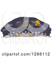 Clipart Of A Halloween Arch Sign Over A Cemetery With Jackolanterns Royalty Free Vector Illustration