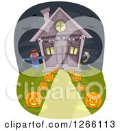 Scarecrow Witch And Path Lined With Halloween Jackolanterns Leading To A House