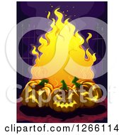 Clipart Of A Trio Of Evil Carved Halloween Jackolantern Pumpkins And Flames Against A Wrought Iron Fence Royalty Free Vector Illustration