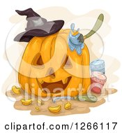 Clipart Of A Carved Halloween Jackolantern Pumpkin With A Witch Hat Tool And Paints Royalty Free Vector Illustration