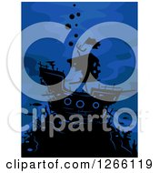 Clipart Of A Silhouetted Ghost Ship On Blue Royalty Free Vector Illustration