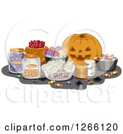 Clipart Of A Carved Halloween Jackolantern Pumpkin And Sweets Royalty Free Vector Illustration