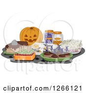Clipart Of A Carved Halloween Jackolantern Pumpkin And Treats Royalty Free Vector Illustration