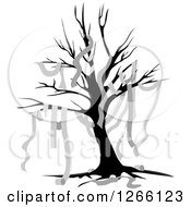 Clipart Of A Bare Tree Draped In Toilet Paper Royalty Free Vector Illustration by BNP Design Studio