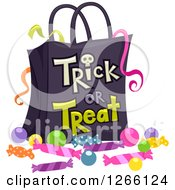 Clipart Of A Halloween Trick Or Treat Bag With Ribbons And Candy Royalty Free Vector Illustration