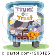 Clipart Of A Trunk Or Treat Banner Over Halloween Sweets In The Back Of A Car Royalty Free Vector Illustration