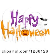 Clipart Of A Happy Halloween Greeting With A Spider Jackolantern And Bats Royalty Free Vector Illustration by BNP Design Studio