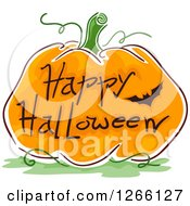 Clipart Of A Bat And Happy Halloween Greeting On A Sketched Pumpkin Royalty Free Vector Illustration
