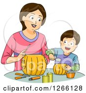 Clipart Of A Brunette White Mom And Son Carving Halloween Pumpkins Together Royalty Free Vector Illustration