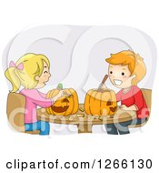 Clipart Of A Caucasian Boy And Girl Carving Halloween Pumpkins Together Royalty Free Vector Illustration