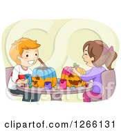Clipart Of A Caucasian Boy And Girl Painting Halloween Pumpkins Together Royalty Free Vector Illustration