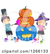 Clipart Of A Caucasian Boy And Girl Stacking And Painting Carved Halloween Pumpkins Royalty Free Vector Illustration