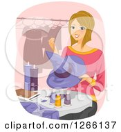 Clipart Of A Blond White Woman Sewing A Halloween Witch Hat And Costume Royalty Free Vector Illustration