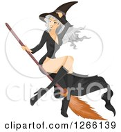 Clipart Of A Gray Haired White Witch Woman Flying On A Broomstick Royalty Free Vector Illustration