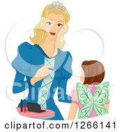 Clipart Of A Blond White Princess Mother Applying Halloween Fairy Make Up On Her Daughters Face Royalty Free Vector Illustration