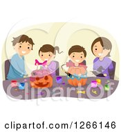 Clipart Of A Brunette Caucasian Family Decorating Halloween Pumpkins Together Royalty Free Vector Illustration