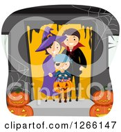 Clipart Of A Happy Boy Trick Or Treating As A Pirate With His Witch And Vampire Parents Royalty Free Vector Illustration