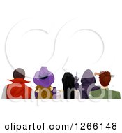 Clipart Of A Rear View Of Teenagers In Halloween Costumes With Text Space Above Royalty Free Vector Illustration