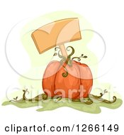 Clipart Of A Blank Sign In A Pumpkin Royalty Free Vector Illustration