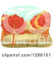 Clipart Of A Park Bench With Autumn Trees Royalty Free Vector Illustration
