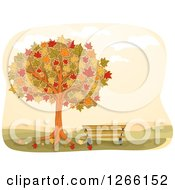 Clipart Of A Park Bench Under An Autumn Maple Tree Royalty Free Vector Illustration by BNP Design Studio