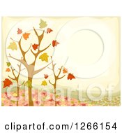 Clipart Of A Fall Background With Nearly Bare Trees And Autumn Leaves Royalty Free Vector Illustration by BNP Design Studio