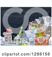 Clipart Of Gifts In Chimneys On Roof Tops On Christmas Eve Royalty Free Vector Illustration by BNP Design Studio