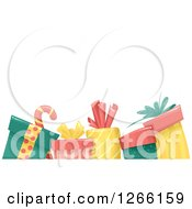 Clipart Of A Background With A Candy Cane And Christmas Gifts Under Text Space Royalty Free Vector Illustration by BNP Design Studio