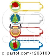 Clipart Of Santa Hat Christmas Tree Reindeer And Stocking Christmas Labels Royalty Free Vector Illustration by BNP Design Studio