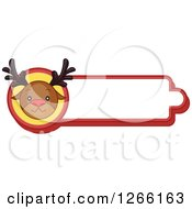 Clipart Of A Red Nosed Reindeer Christmas Label Royalty Free Vector Illustration by BNP Design Studio
