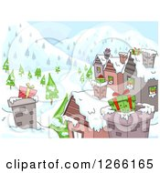 Clipart Of Gifts In Chimneys On Village Roof Tops Royalty Free Vector Illustration
