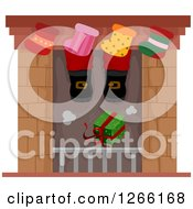 Clipart Of A Gift Dropping Down A Chimney Under Santas Feet And Stockings Royalty Free Vector Illustration