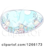 Clipart Of A Sketched Christmas Village Oval Royalty Free Vector Illustration