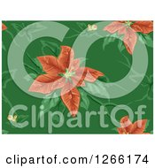 Clipart Of A Seamless Background Of Red Christmas Poinsettias On Green Royalty Free Vector Illustration by BNP Design Studio