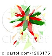 Clipart Of A Geometric Christmas Poinsettia Plant Royalty Free Vector Illustration by BNP Design Studio