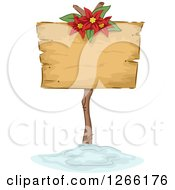 Clipart Of A Wooden Christmas Sign With A Poinsettia In The Snow Royalty Free Vector Illustration