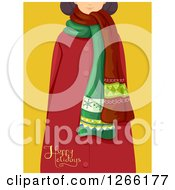 Clipart Of A Girl In A Scarf And Red Coat With Happy Holidays Text Over Yellow Royalty Free Vector Illustration