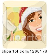 Clipart Of A Happy Caucasian Woman Wearing A Santa Hat And Looking Down Into A Christmas Gift Box Royalty Free Vector Illustration