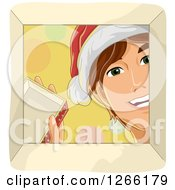 Clipart Of A Happy Caucasian Man Wearing A Santa Hat And Looking Down Into A Christmas Gift Box Royalty Free Vector Illustration