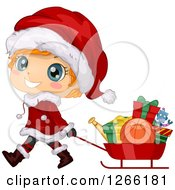 Cute Red Haired White Toddler Boy In A Santa Suit Pulling Christmas Gifts In A Sled
