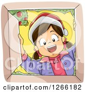 Clipart Of A Happy Caucasian Girl Wearing A Santa Hat And Looking Down Into A Christmas Gift Box Royalty Free Vector Illustration