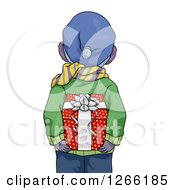 Clipart Of A Rear View Of A Boy In Winter Clothes Holding A Christmas Gift Behind His Back Royalty Free Vector Illustration by BNP Design Studio