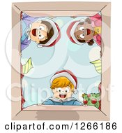 Clipart Of A Group Of Excited Children Looking Down Into A Christmas Gift Box Royalty Free Vector Illustration