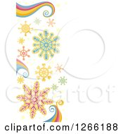 Clipart Of A Christmas Background With Snowflakes And Rainbow Swirls Royalty Free Vector Illustration