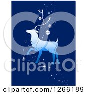 Clipart Of A Walking Reindeer With Christmas Baubles And Magic Sparkles On Blue Royalty Free Vector Illustration
