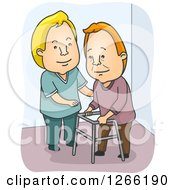 Clipart Of A White Male Nurse Cargiving And Helping A Senior Man With A Walker Royalty Free Vector Illustration