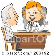 Red Haired White Female Doctor Talking To A Senior Male Patient
